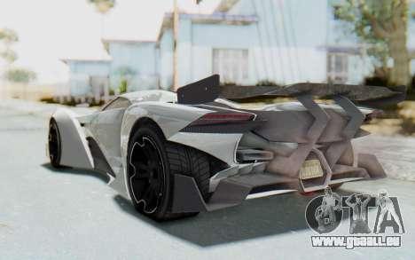 GTA 5 Grotti Prototipo v2 pour GTA San Andreas sur la vue arrière gauche
