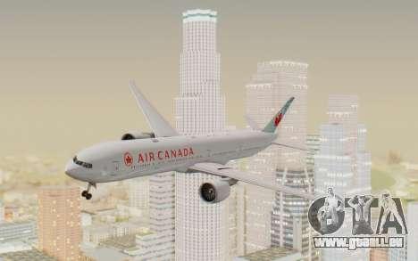 Boeing 777-300ER Air Canada pour GTA San Andreas sur la vue arrière gauche