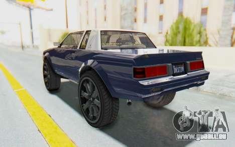 GTA 5 Willard Faction Custom Donk v1 für GTA San Andreas zurück linke Ansicht