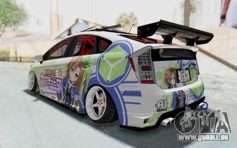 Toyota Prius Hybrid 2011 Hellaflush IF Itasha pour GTA San Andreas sur la vue arrière gauche