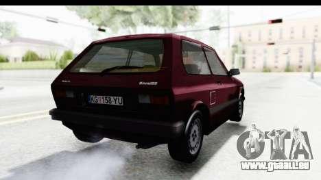 Zastava Yugo Koral 55 1996 pour GTA San Andreas laissé vue