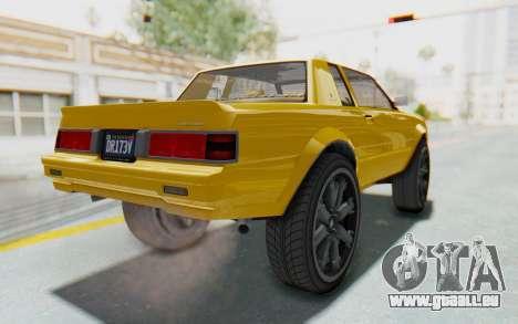 GTA 5 Willard Faction Custom Donk v1 IVF pour GTA San Andreas sur la vue arrière gauche