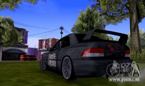 Subaru impreza 22B (SUICIDE SQUAD) pour GTA San Andreas sur la vue arrière gauche