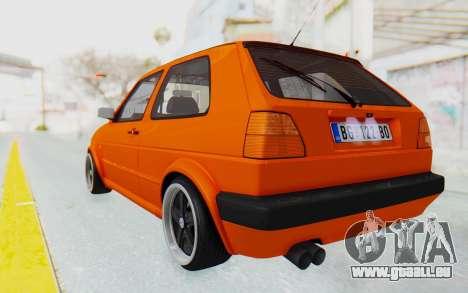 Volkswagen Golf 2 GTI 1.6V pour GTA San Andreas laissé vue