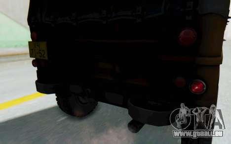 UAZ-460Б FIV pour GTA San Andreas vue intérieure
