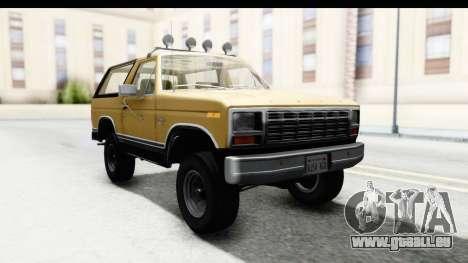 Ford Bronco 1980 IVF für GTA San Andreas zurück linke Ansicht