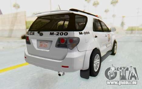 Toyota Fortuner 4WD 2015 Paraguay Police für GTA San Andreas zurück linke Ansicht