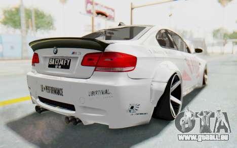 BMW M3 E92 Liberty Walk LB Performance für GTA San Andreas zurück linke Ansicht