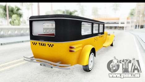 Unique V16 Fordor Taxi pour GTA San Andreas vue de droite