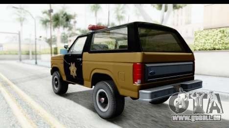Ford Bronco 1982 Police IVF pour GTA San Andreas laissé vue