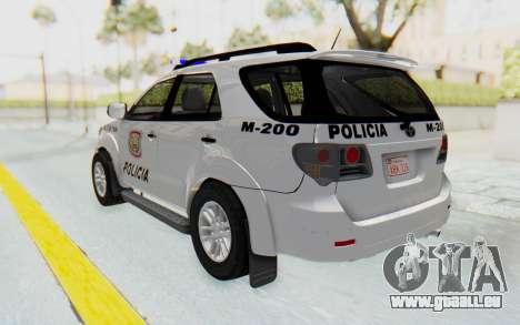 Toyota Fortuner 4WD 2015 Paraguay Police für GTA San Andreas linke Ansicht