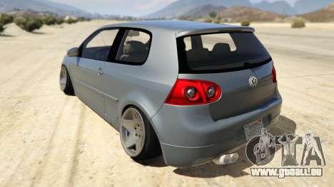 GTA 5 Volskwagen Golf MkV Stance hinten links Seitenansicht
