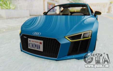 Audi R8 V10 2017 v2.0 pour GTA San Andreas vue intérieure