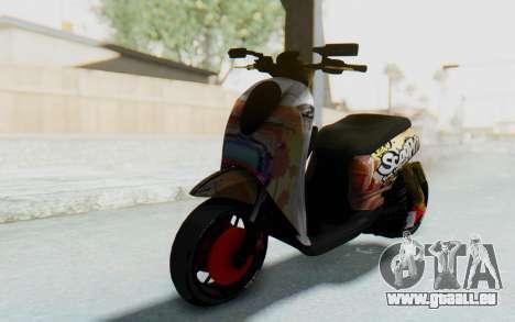 Honda Scoopyi Modified für GTA San Andreas zurück linke Ansicht