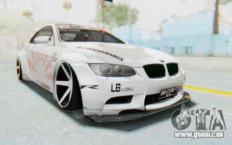 BMW M3 E92 Liberty Walk LB Performance pour GTA San Andreas vue de droite