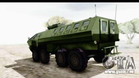 Lazar Serbian Armored Vehicle pour GTA San Andreas sur la vue arrière gauche