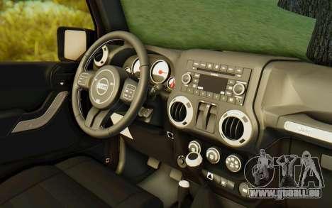 Jeep Wrangler Rubicon 2012 pour GTA San Andreas vue intérieure