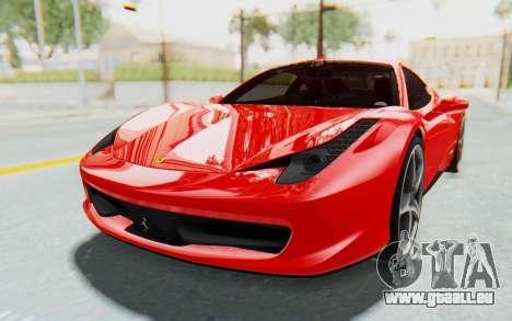 Ferrari 458 Italia F142 2010 pour GTA San Andreas vue de droite