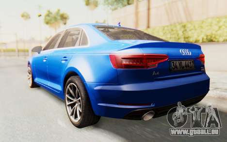 Audi A4 2017 HQLM für GTA San Andreas zurück linke Ansicht