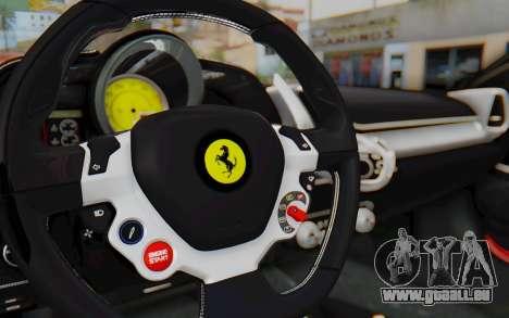 Ferrari 458 Italia F142 2010 pour GTA San Andreas vue intérieure
