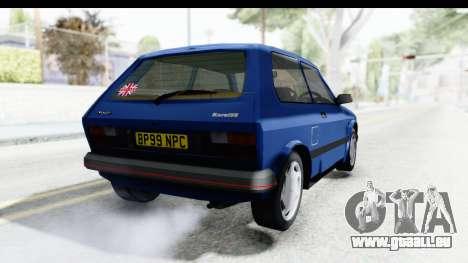 Zastava Yugo Koral UK pour GTA San Andreas sur la vue arrière gauche