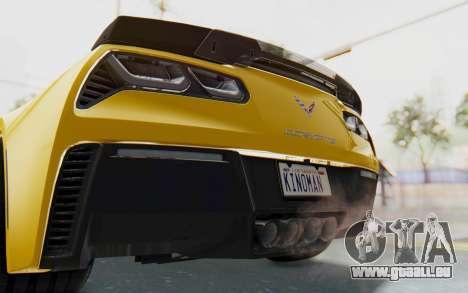 Chevrolet Corvette C7.R Z06 2015 pour GTA San Andreas vue de dessous
