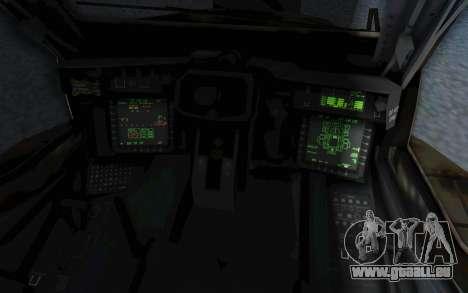 AH-64 Apache Leopard pour GTA San Andreas vue intérieure