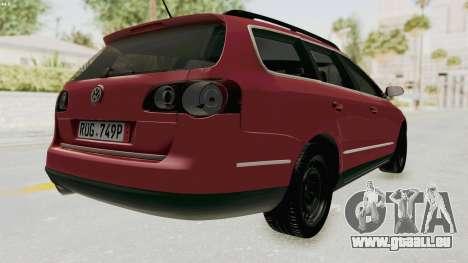 Volkswagen Passat B6 Variant pour GTA San Andreas sur la vue arrière gauche