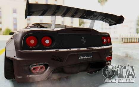 Ferrari 360 Modena Liberty Walk LB Perfomance v1 für GTA San Andreas obere Ansicht