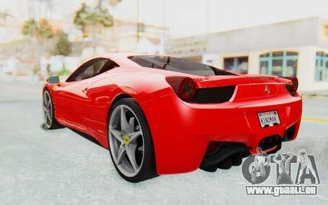 Ferrari 458 Italia F142 2010 pour GTA San Andreas sur la vue arrière gauche