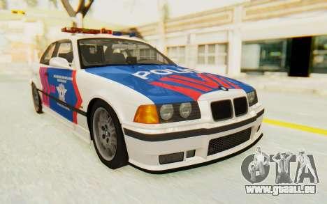 BMW M3 E36 Police Indonesia pour GTA San Andreas sur la vue arrière gauche