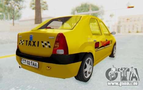 Dacia Logan Taxi pour GTA San Andreas laissé vue