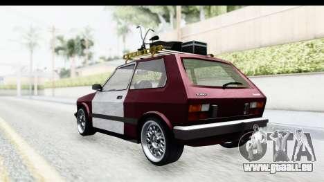 Zastava Yugo Koral Rat Style pour GTA San Andreas sur la vue arrière gauche