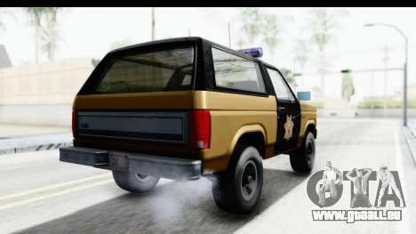 Ford Bronco 1982 Police IVF pour GTA San Andreas sur la vue arrière gauche