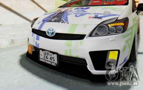 Toyota Prius Hybrid 2011 Hellaflush IF Itasha für GTA San Andreas obere Ansicht