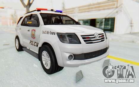 Toyota Fortuner 4WD 2015 Paraguay Police für GTA San Andreas rechten Ansicht