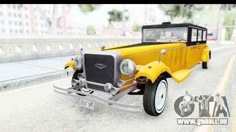 Unique V16 Fordor Taxi pour GTA San Andreas sur la vue arrière gauche