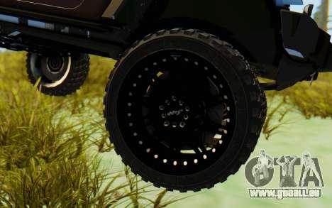 Jeep Wrangler Rubicon 2012 für GTA San Andreas Rückansicht