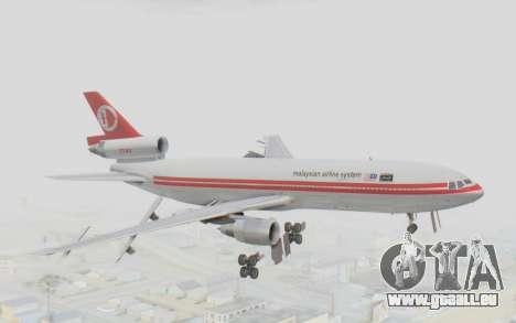 DC-10-30 Malaysia Airlines (Retro Livery) pour GTA San Andreas sur la vue arrière gauche
