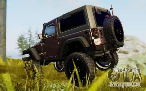 Jeep Wrangler Rubicon 2012 pour GTA San Andreas sur la vue arrière gauche