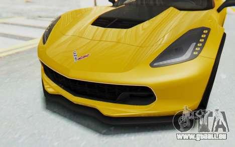 Chevrolet Corvette C7.R Z06 2015 pour GTA San Andreas vue de dessus
