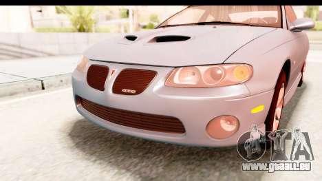 Pontiac GTO 2006 pour GTA San Andreas vue de dessus