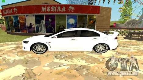 Mitsubishi Lancer X GVR pour GTA San Andreas sur la vue arrière gauche