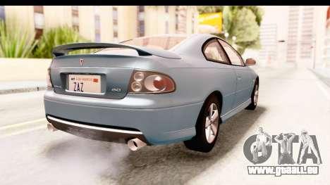Pontiac GTO 2006 pour GTA San Andreas laissé vue