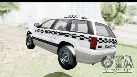GTA 5 Canis Seminole Taxi Milspec pour GTA San Andreas sur la vue arrière gauche