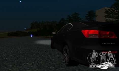Lexus IS-F pour GTA San Andreas vue intérieure