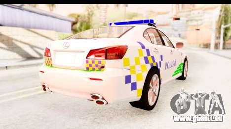 Lexus IS F PDRM pour GTA San Andreas laissé vue