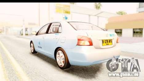 Toyota Vios 2008 Taxi Blue Bird pour GTA San Andreas laissé vue
