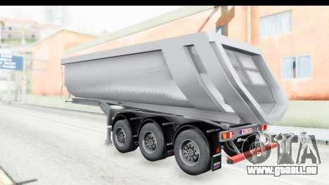 Trailer Volvo Dumper pour GTA San Andreas vue de droite