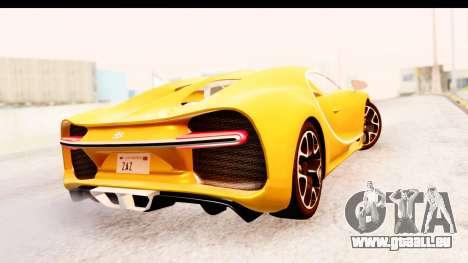 Bugatti Chiron 2017 v2.0 Updated für GTA San Andreas Rückansicht
